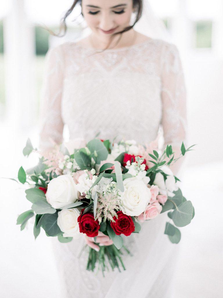 McKinney, Texas - Texas Outdoor Wedding - Each & Every Detail - Mauve & Burgundy Wedding - Lush Greenery Wedding - Bridal Bouquet - Red & Pink Bouquet