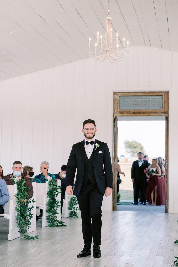 McKinney, Texas - Texas Outdoor Wedding - Each & Every Detail - Mauve & Burgundy Wedding - Lush Greenery Wedding - Texas Groom - Walking down the aisle