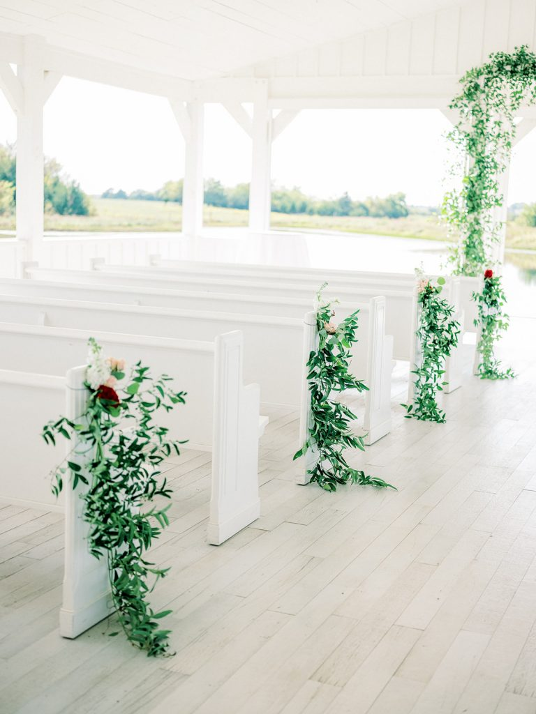 McKinney, Texas - Texas Outdoor Wedding - Each & Every Detail - Mauve & Burgundy Wedding - Lush Greenery Wedding - Greenery Pew Markers - Open Air Chapel - The grand Ivory