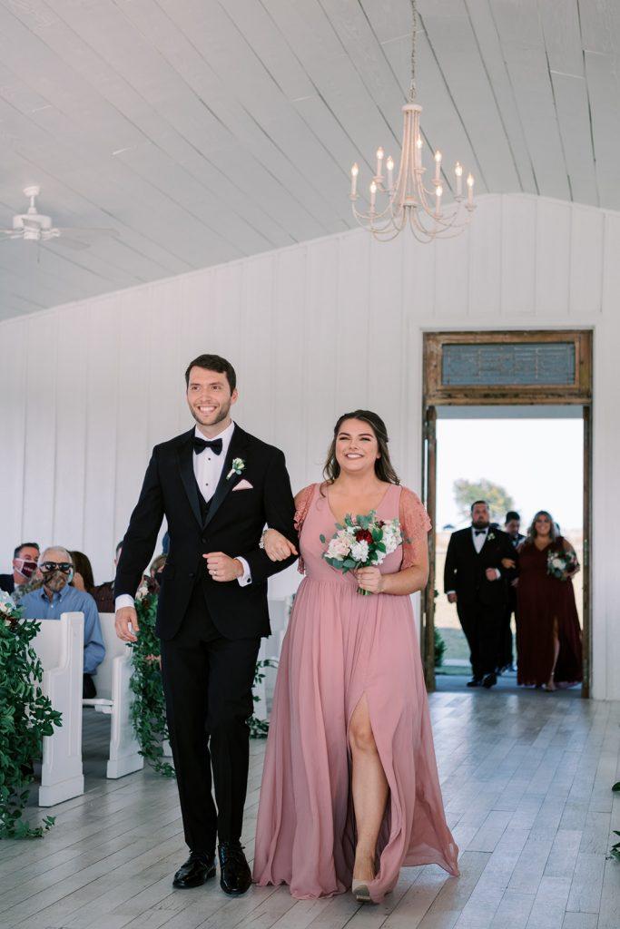 McKinney, Texas - Texas Outdoor Wedding - Each & Every Detail - Mauve & Burgundy Wedding - Lush Greenery Wedding - Bridal Party - Wedding Party - Walkiung down the aisle