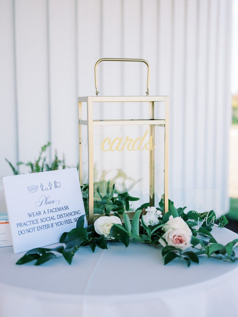 McKinney, Texas - Texas Outdoor Wedding - Each & Every Detail - Mauve & Burgundy Wedding - Lush Greenery Wedding - Card Box - GOld Card LAntern - Welcome Table