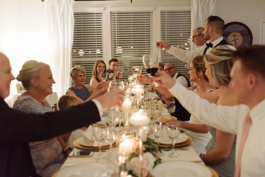 Matt and Julie Weddings - Wedding Dinner Toast - Intimate Wedding - Small Wedding - Intimate Wedding Dinner