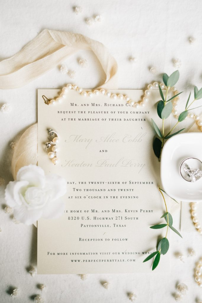 Ivory & Gold Wedding - Outdoor Tent Wedding - McKinney, Texas, Elegant Wedding Invitation - Wedding Flat Lay - Wedding Ring - Wedding Invitation