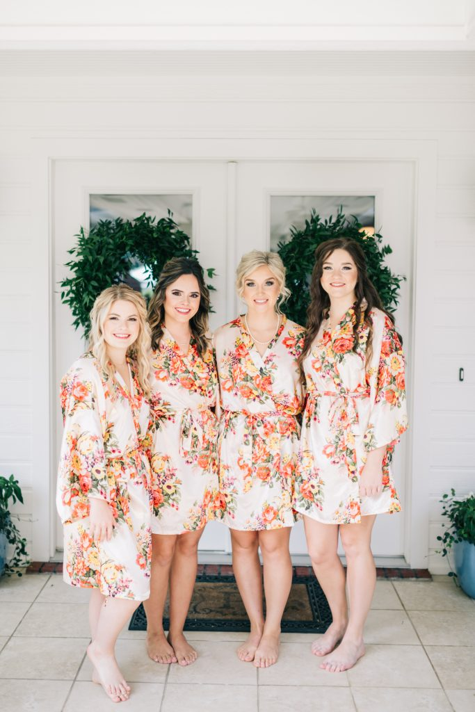 Ivory & Gold Wedding - Outdoor Tent Wedding - McKinney, Texas, Elegant Outdoor Wedding Reception - Country Wedding - Getting Ready for Wedding- Bridesmaids - Floral Wedding Robes