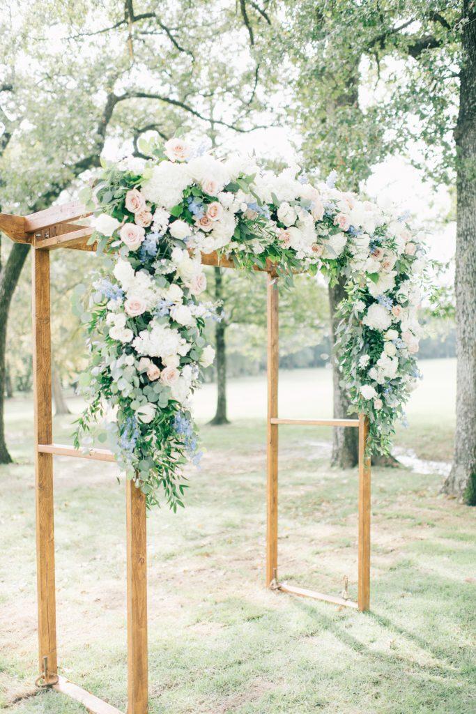 Ivory & Gold Wedding - Outdoor Tent Wedding - McKinney, Texas, Elegant Outdoor Wedding Ceremony - Lush Floral Ceremony Arch - Wooded Wedding Ceremony