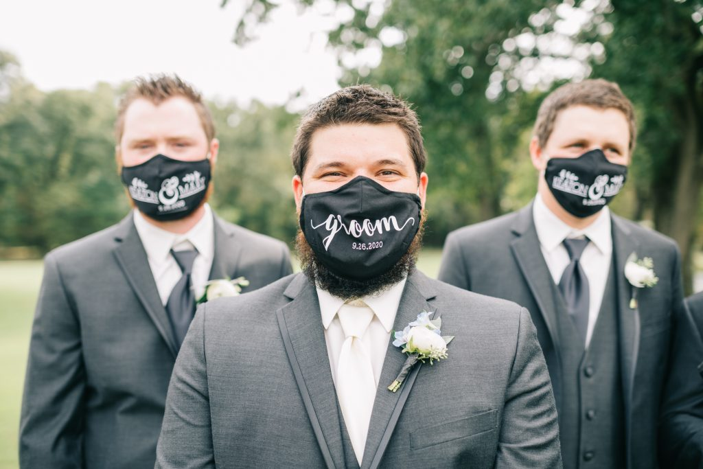 Ivory & Gold Wedding - Outdoor Tent Wedding - McKinney, Texas, Elegant Outdoor Wedding - Grooms Mask - Covid Wedding