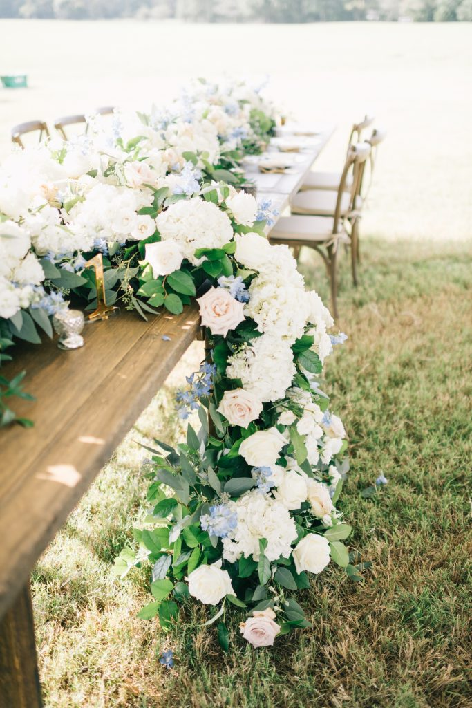Ivory & Gold Wedding - Outdoor Tent Wedding - McKinney, Texas, Elegant Outdoor Wedding Reception - Wedding Reception Decor - Wedding Table Decor - Cascading Flower Centerpiece - Each & Every Detail
