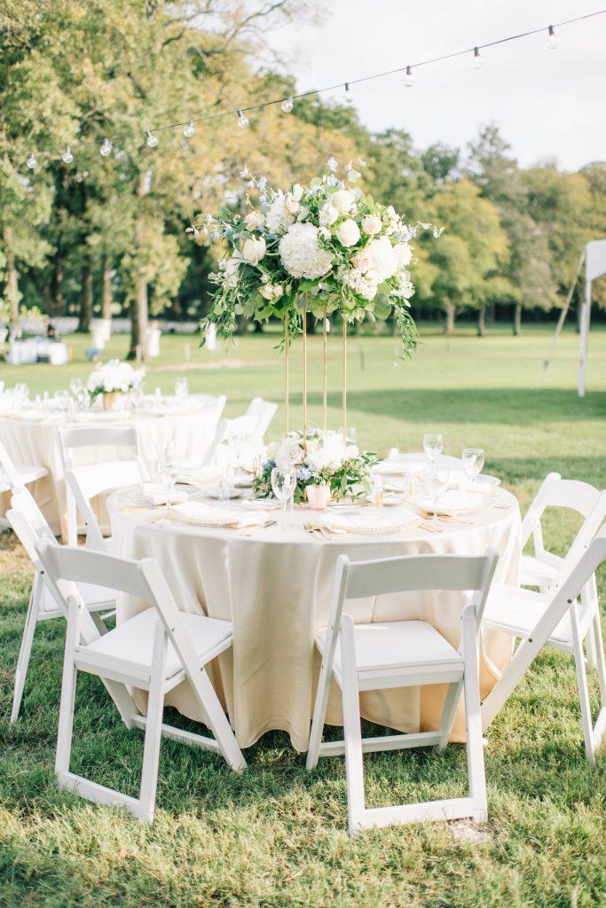 Ivory & Gold Wedding - Outdoor Tent Wedding - McKinney, Texas, Elegant Outdoor Wedding Reception - Wedding Reception Decor - Wedding Table Decor - Wedding Centerpiece - Each & Every Detail