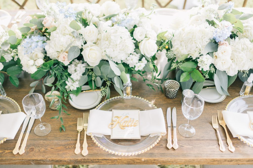 Ivory & Gold Wedding - Outdoor Tent Wedding - McKinney, Texas, Elegant Outdoor Wedding Reception - Wedding Reception Decor - Wedding Table Decor - Wedding Place Setting - Each & Every Detail