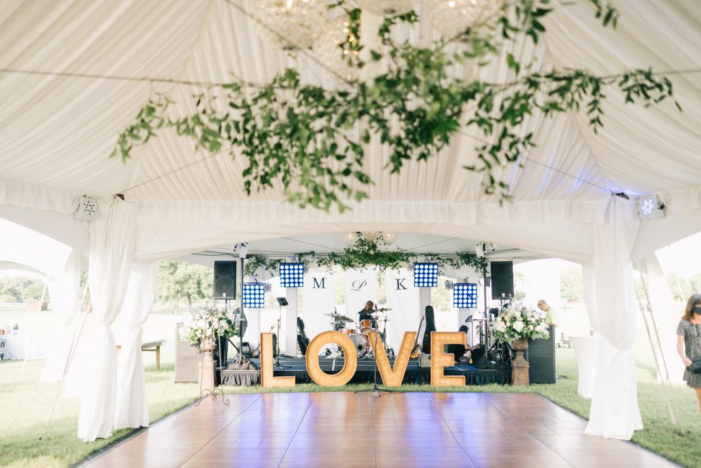 Ivory & Gold Wedding - Outdoor Tent Wedding - McKinney, Texas, Elegant Outdoor Wedding Reception - Wedding Reception Decor - Wedding Dance Floor - Marquee Sign - Each & Every Detail