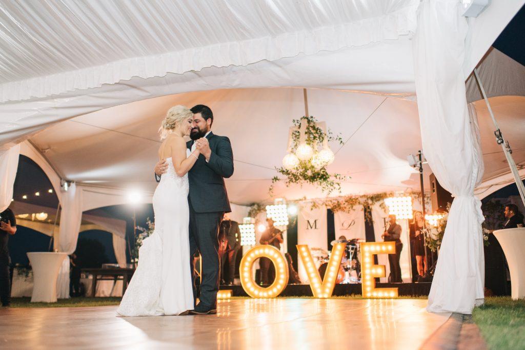 Ivory & Gold Wedding - Outdoor Tent Wedding - McKinney, Texas, Elegant Outdoor Wedding Reception - Wedding Reception Decor - Wedding Dance Floor - Marquee Sign - Each & Every Detail - First Dance