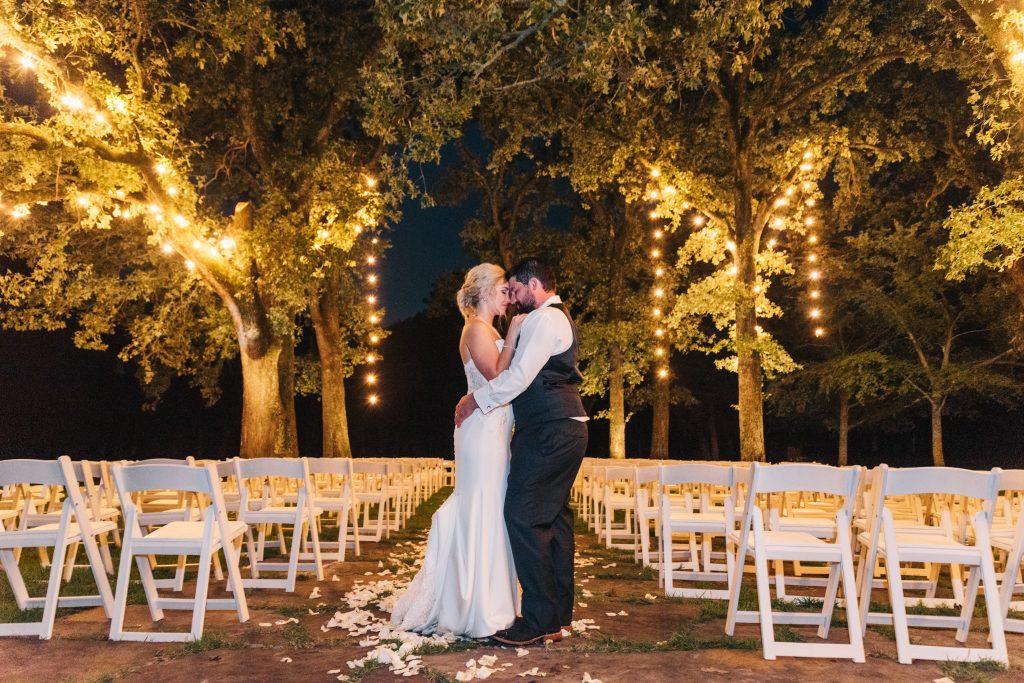Ivory & Gold Wedding - Outdoor Tent Wedding - McKinney, Texas, Elegant Outdoor Wedding Ceremony - Night Wedding Photo - String Lights Outdoor Photo