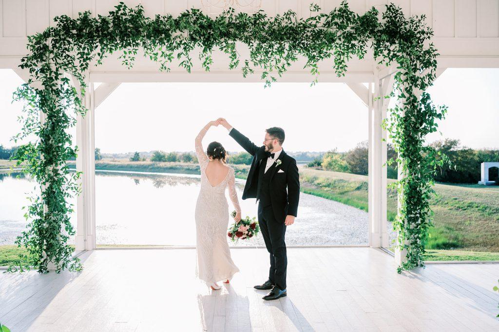 McKinney, Texas - Texas Outdoor Wedding - Each & Every Detail - Mauve & Burgundy Wedding - Lush Greenery Wedding - Bride & Groom - Twirl Wedding Photo - Open Air Chapel - The Grand Ivory