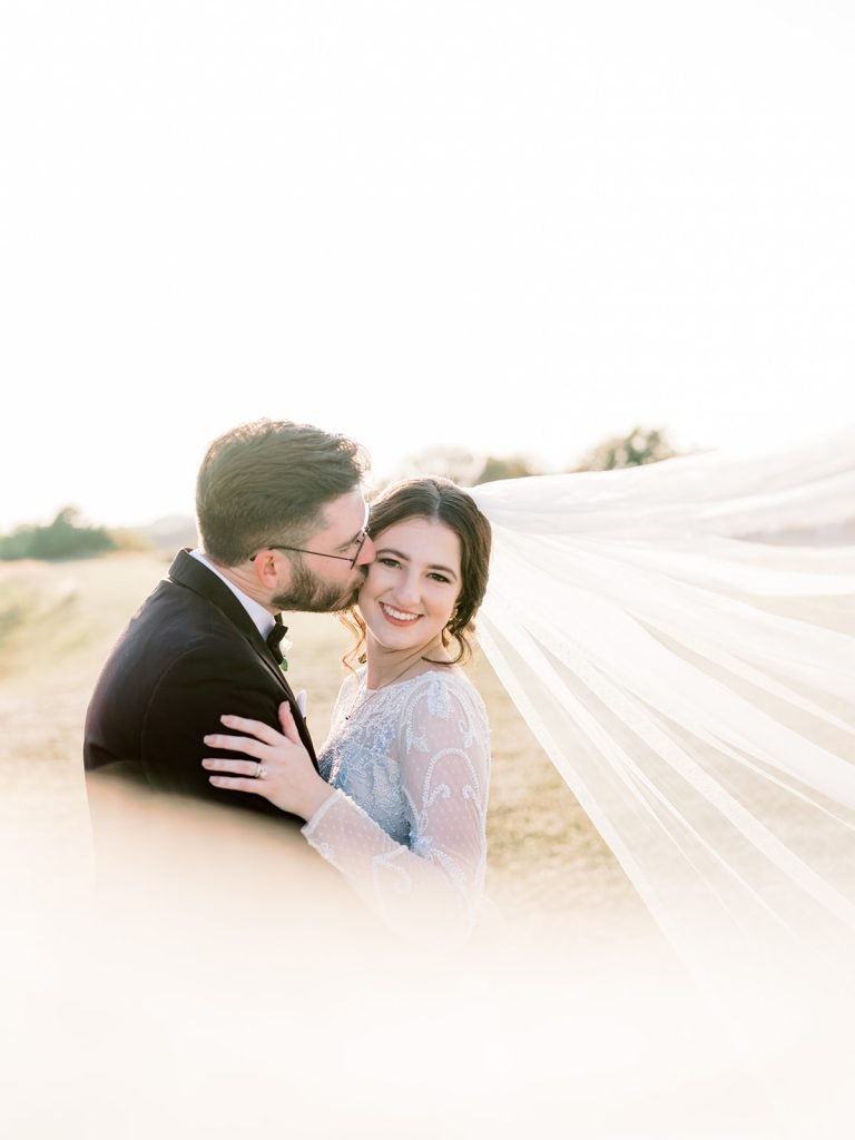 McKinney, Texas - Texas Outdoor Wedding - Each & Every Detail - Mauve & Burgundy Wedding - Lush Greenery Wedding - Romantic Bride and Groom Photo - Veil Brie Photo