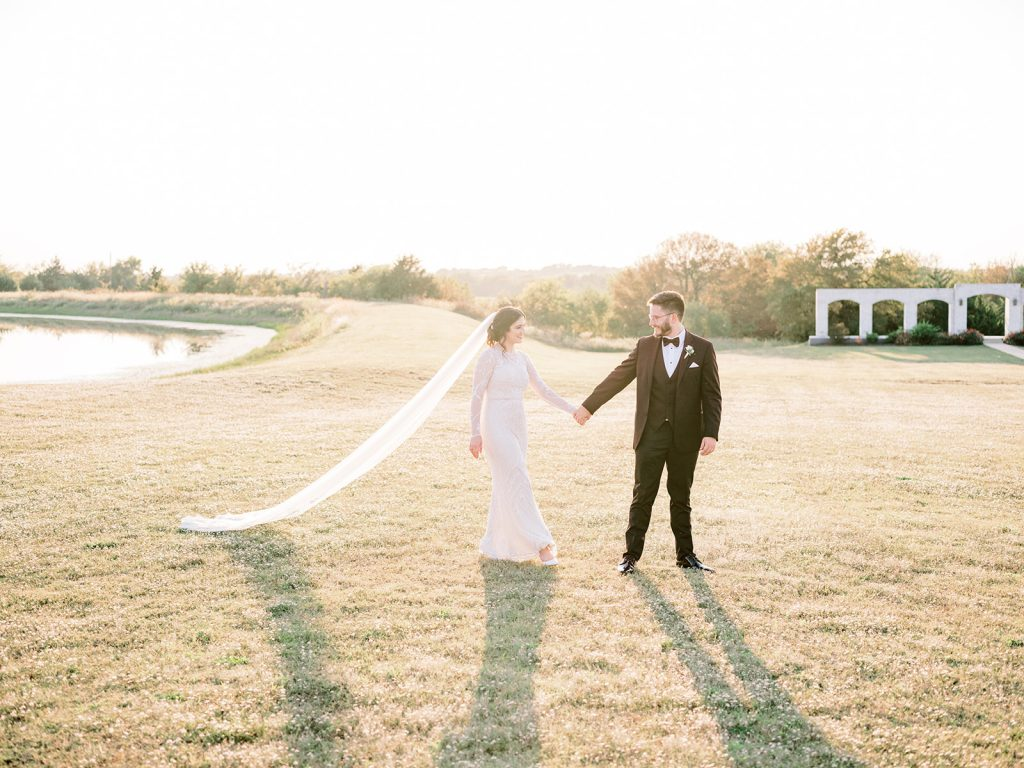 McKinney, Texas - Texas Outdoor Wedding - Each & Every Detail - Mauve & Burgundy Wedding - Lush Greenery Wedding - Romantic Bride and Groom Photo - Cathedral Veil - Outdoor Bride & Groom Photos