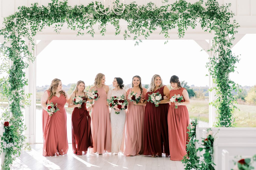 McKinney, Texas - Texas Outdoor Wedding - Each & Every Detail - Mauve & Burgundy Wedding - Lush Greenery Wedding - Bridesmaids - Formal Wedding Photography - OPen Air Chapel - The Grand Ivory