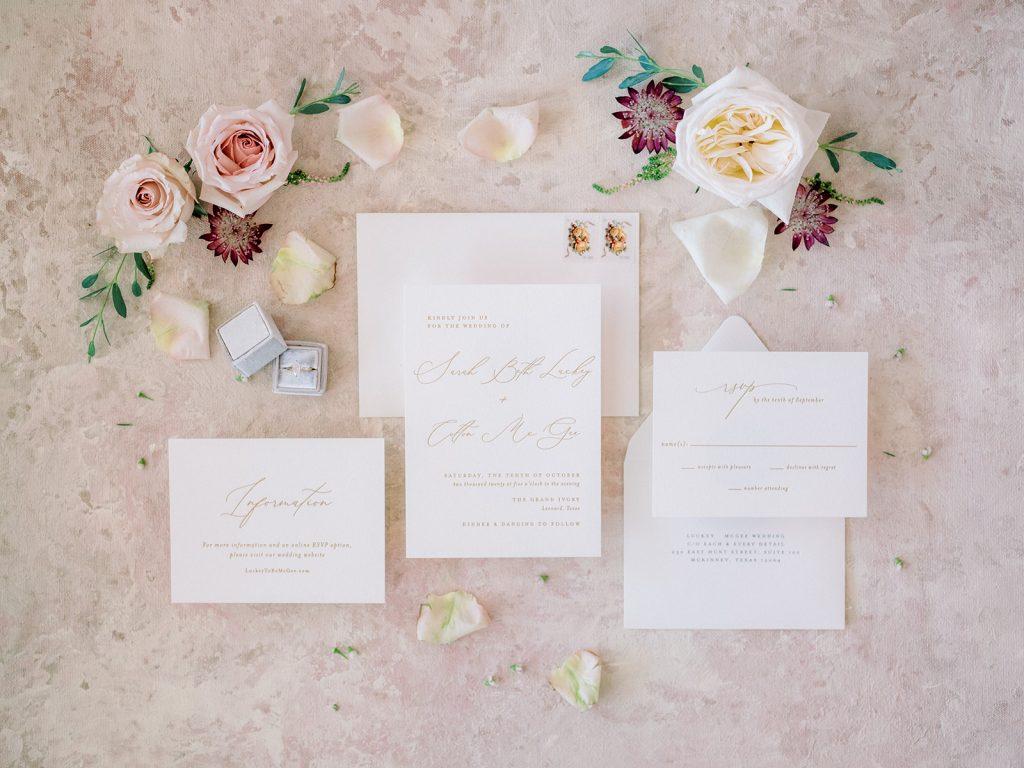 McKinney, Texas - Texas Outdoor Wedding - Each & Every Detail - Mauve & Burgundy Wedding - Lush Greenery Wedding - Flat Lay Wedding Invitation - Soft pink Wedding Details
