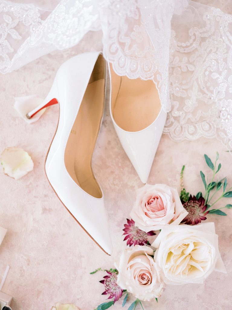 McKinney, Texas - Texas Outdoor Wedding - Each & Every Detail - Mauve & Burgundy Wedding - Lush Greenery Wedding - Bride Shoes - Louboutin Wedding Shoes - Traditional Wedding Shoes