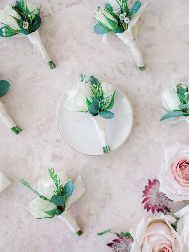 McKinney, Texas - Texas Outdoor Wedding - Each & Every Detail - Mauve & Burgundy Wedding - Lush Greenery Wedding - Wedding Boutonnieres - Grooms Boutonniere - Wedding Flowers