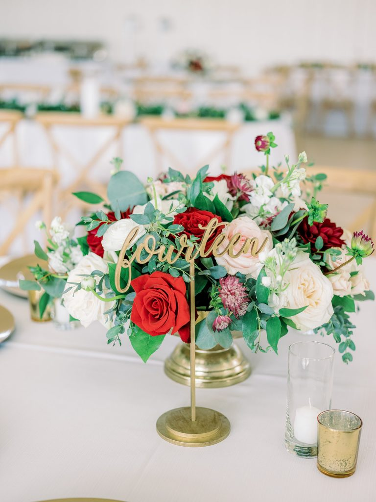 McKinney, Texas - Texas Outdoor Wedding - Each & Every Detail - Mauve & Burgundy Wedding - Lush Greenery Wedding - Reception Cetnerpiece - Reception Decor - Gold Script Table Numbers