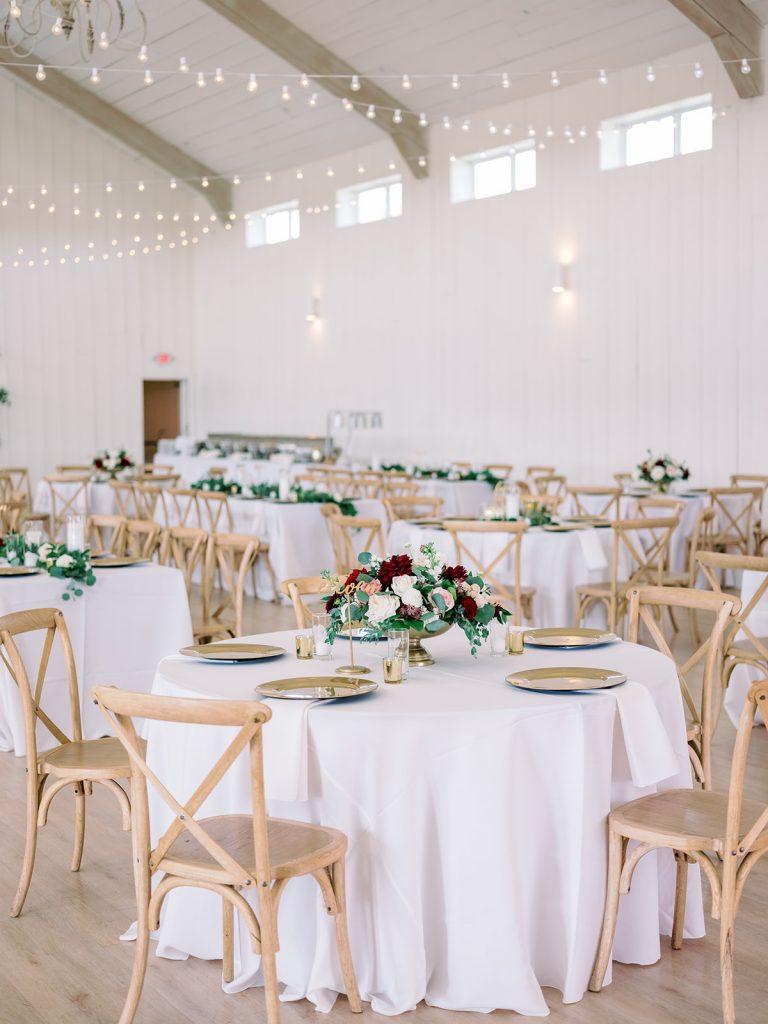 McKinney, Texas - Texas Outdoor Wedding - Each & Every Detail - Mauve & Burgundy Wedding - Lush Greenery Wedding - Wedding Centerpiece - Wedding Tablescape - Maroon and Ivory Wedding Flowers