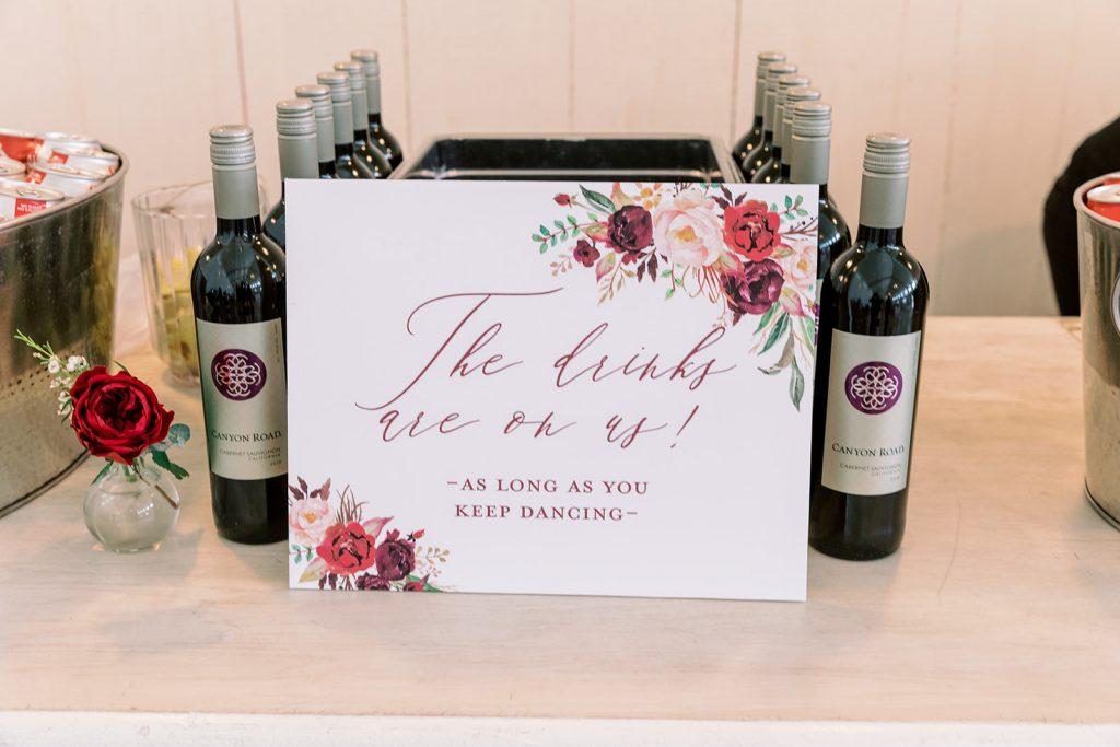 McKinney, Texas - Texas Outdoor Wedding - Each & Every Detail - Mauve & Burgundy Wedding - Lush Greenery Wedding - Wedidng Bar Sign - Wedding Wine