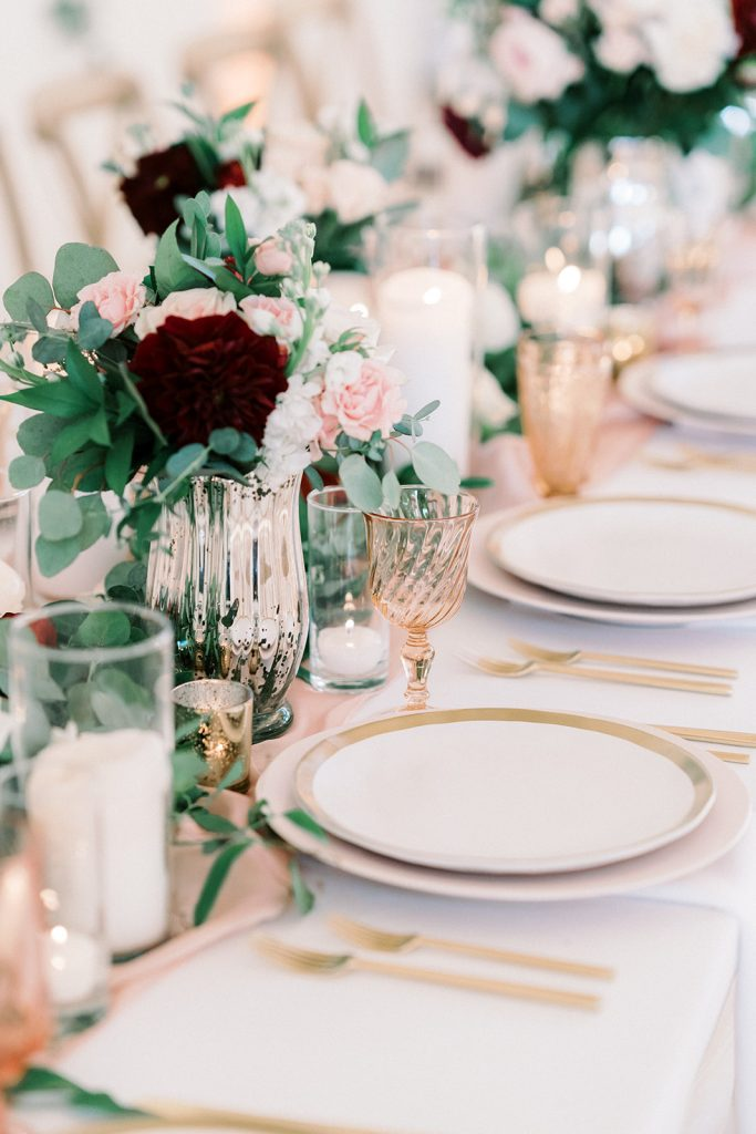 McKinney, Texas - Texas Outdoor Wedding - Each & Every Detail - Mauve & Burgundy Wedding - Lush Greenery Wedding - Vintage Blush Glass - WEdding Place Setting - Gold Flateware - Wedding Reception