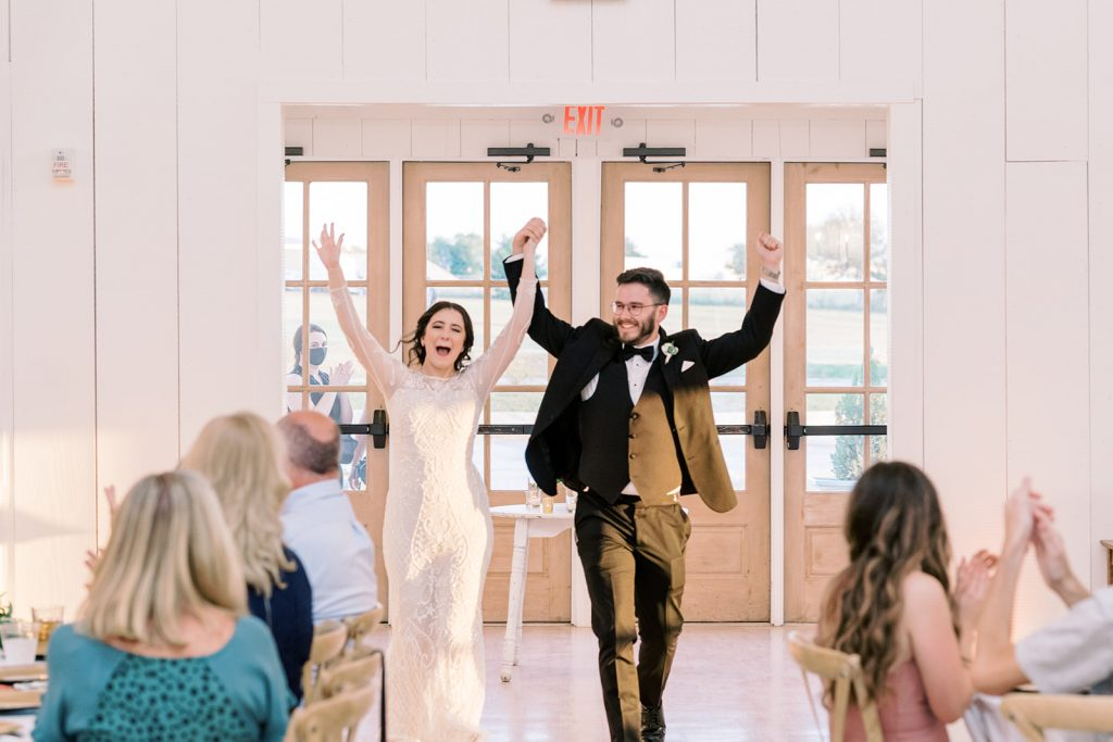 McKinney, Texas - Texas Outdoor Wedding - Each & Every Detail - Mauve & Burgundy Wedding - Lush Greenery Wedding - First Introduction Wedding Reception - Excited Bride & Groom