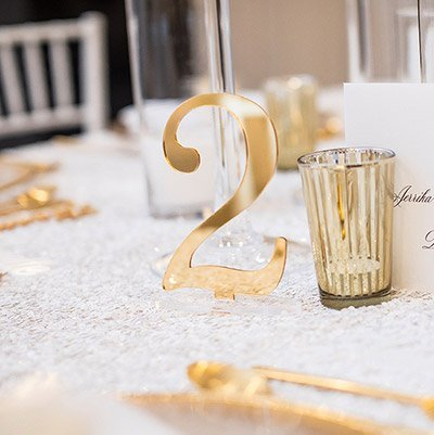 Each & Every Detail Custom Gold Wedding Table Number
